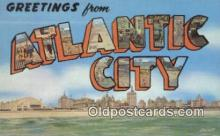 LLT200250 - Atlantic City, NJ, USA Large Letter Town Postcard Post Card Old Vintage Antique