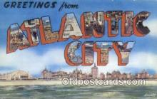 LLT200251 - Atlantic City, NJ, USA Large Letter Town Postcard Post Card Old Vintage Antique