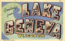 LLT200267 - Lake Geneva, Wisconsin, USA Large Letter Town Postcard Post Card Old Vintage Antique