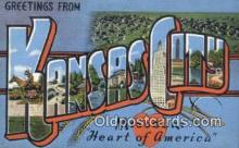 LLT200270 - Kansas City, Missouri, USA Large Letter Town Postcard Post Card Old Vintage Antique