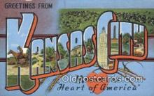LLT200271 - Kansas City, Missouri, USA Large Letter Town Postcard Post Card Old Vintage Antique