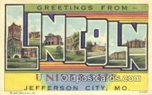 LLT200280 - Jefferson City, MO, USA Large Letter Town Postcard Post Card Old Vintage Antique