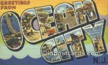 LLT200282 - Ocean City, NJ, USA Large Letter Town Postcard Post Card Old Vintage Antique