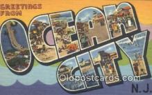 LLT200283 - Ocean City, NJ, USA Large Letter Town Postcard Post Card Old Vintage Antique