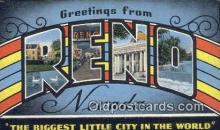 LLT200293 - Reno, Nevada, USA Large Letter Town Postcard Post Card Old Vintage Antique