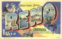 LLT200300 - Reno, Nevada, USA Large Letter Town Postcard Post Card Old Vintage Antique