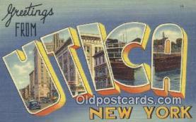 LLT200333 - Utica, New York, USA Large Letter Town Postcard Post Card Old Vintage Antique