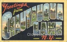 LLT200366 - Chautauqua Lake, NY, USA Large Letter Town Postcard Post Card Old Vintage Antique