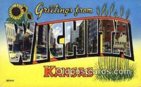 LLT200370 - Wichita, Kansas, USA Large Letter Town Postcard Post Card Old Vintage Antique