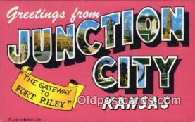 LLT200373 - Junction City, Kansas, USA Large Letter Town Postcard Post Card Old Vintage Antique