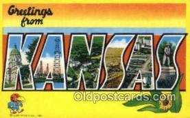 LLT200377 - Kansas, USA Large Letter Town Postcard Post Card Old Vintage Antique