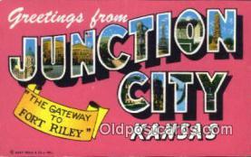 LLT200378 - Junction City, Kansas, USA Large Letter Town Postcard Post Card Old Vintage Antique