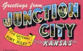 LLT200379 - Junction City, Kansas, USA Large Letter Town Postcard Post Card Old Vintage Antique