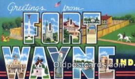 LLT200391 - Fort Wayne, Indiana, USA Large Letter Town Postcard Post Card Old Vintage Antique
