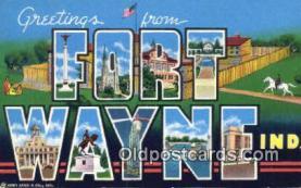 LLT200392 - Fort Wayne, Indiana, USA Large Letter Town Postcard Post Card Old Vintage Antique
