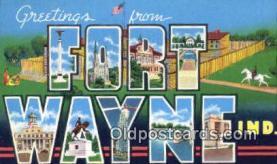 LLT200393 - Fort Wayne, Indiana, USA Large Letter Town Postcard Post Card Old Vintage Antique