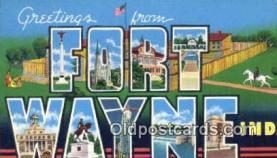 LLT200394 - Fort Wayne, Indiana, USA Large Letter Town Postcard Post Card Old Vintage Antique