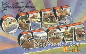 LLT200411 - Ocean Grove, NJ, USA Large Letter Town Postcard Post Card Old Vintage Antique