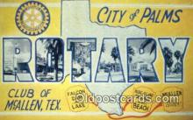 LLT200416 - McAllen, Texas, USA Large Letter Town Postcard Post Card Old Vintage Antique