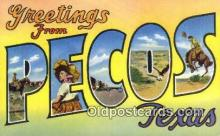 LLT200419 - Pecos, Texas, USA Large Letter Town Postcard Post Card Old Vintage Antique
