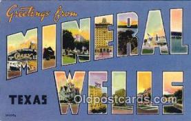 LLT200420 - Mineral Wells, Texas, USA Large Letter Town Postcard Post Card Old Vintage Antique