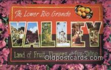 LLT200422 - Rio Grande Valley, Texas, USA Large Letter Town Postcard Post Card Old Vintage Antique
