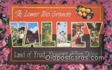 LLT200423 - Rio Grande Valley, Texas, USA Large Letter Town Postcard Post Card Old Vintage Antique