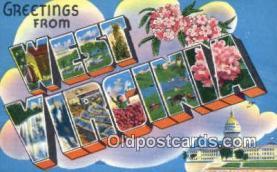 LLT200444 - West Virginia, USA Large Letter Town Postcard Post Card Old Vintage Antique