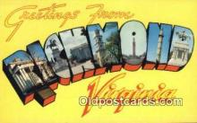 LLT200447 - Richmond, Virginia, USA Large Letter Town Postcard Post Card Old Vintage Antique