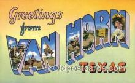 LLT200449 - Van Horn, Texas, USA Large Letter Town Postcard Post Card Old Vintage Antique