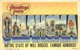 LLT200454 - Oklahoma, USA Large Letter Town Postcard Post Card Old Vintage Antique