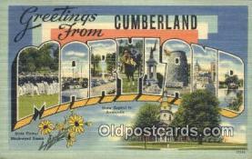 LLT200479 - Cumberland, Maryland, USA Large Letter Town Postcard Post Card Old Vintage Antique