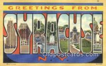 LLT200520 - Syracuse, NY, USA Large Letter Town Postcard Post Card Old Vintage Antique