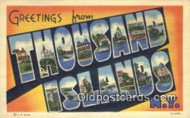 LLT200526 - Thousand Islands, NY, USA Large Letter Town Postcard Post Card Old Vintage Antique