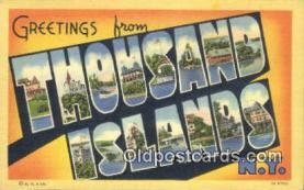 LLT200527 - Thousand Islands, NY, USA Large Letter Town Postcard Post Card Old Vintage Antique