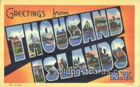 LLT200528 - Thousand Islands, NY, USA Large Letter Town Postcard Post Card Old Vintage Antique