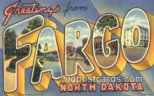 LLT200533 - Fargo, North Dakota, USA Large Letter Town Postcard Post Card Old Vintage Antique