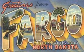 LLT200533 - Fargo, North Dakota, USA Large Letter Town Postcard Post Card Old Vintage Antique