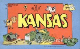 LLT200538 - Kansas, USA Large Letter Town Postcard Post Card Old Vintage Antique