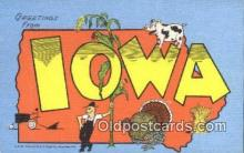 LLT200558 - Iowa, USA Large Letter Town Postcard Post Card Old Vintage Antique