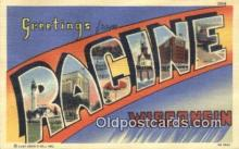 LLT200564 - Racine, Wisconsin, USA Large Letter Town Postcard Post Card Old Vintage Antique