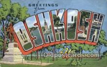 LLT200567 - Oshkosh, Wisconsin, USA Large Letter Town Postcard Post Card Old Vintage Antique