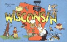 LLT200580 - Wisconsin, USA Large Letter Town Postcard Post Card Old Vintage Antique
