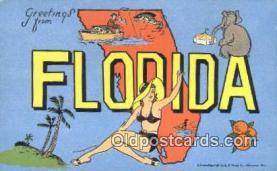 LLT200583 - Florida, USA Large Letter Town Postcard Post Card Old Vintage Antique