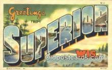LLT200585 - Superior, Wisconsin, USA Large Letter Town Postcard Post Card Old Vintage Antique