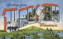 LLT200595 - Wausau, Wisconsin, USA Large Letter Town Postcard Post Card Old Vintage Antique