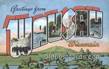 LLT200596 - Wausau, Wisconsin, USA Large Letter Town Postcard Post Card Old Vintage Antique