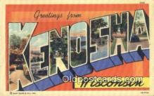 LLT200604 - Kenosha, Wisconsin, USA Large Letter Town Postcard Post Card Old Vintage Antique