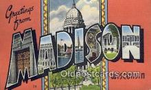 LLT200605 - Madison, Wisconsin, USA Large Letter Town Postcard Post Card Old Vintage Antique