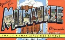 LLT200606 - Milwaukee, Wisconsin, USA Large Letter Town Postcard Post Card Old Vintage Antique